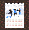 moon 2020 calendar people skating on ice rink vector image