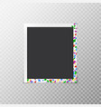 photo frame with iridescent confetti vector image vector image