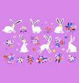 set cute rabbits in cartoon style vector image vector image