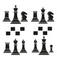 set of chess club play icon black vector image vector image