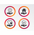 smile and hand icon heart tick symbol vector image