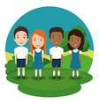students group in the park vector image vector image