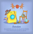 sweden concept cartoon style vector image vector image