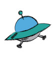 ufo spaceship futurist symbol icon in cartoon vector image vector image