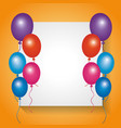 white board empty with frame balloons decoration vector image