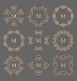 abstract arrow line frame monogram logos set vector image