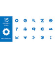 15 mechanical icons vector image vector image