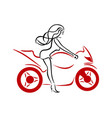 a girl on a red motorcycle vector image vector image