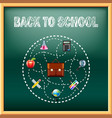 Back to school concept with tools on green vector image vector image