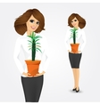 business woman holding pachypodium cactus vector image vector image