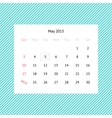 Calendar page for May 2015 vector image vector image