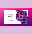 casino night neon landing page vector image vector image