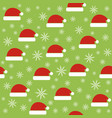 christmas seamless pattern with santa hats vector image vector image