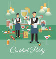 cocktail party event event flat banner vector image vector image