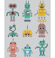 Colorful cut retro robots set vector image