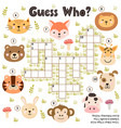crossword game for kids guess who activity with vector image