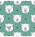 cute bear seamless pattern hand drawn vector image