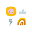 cute weather icons cartoon sun flash cloud vector image