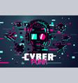 cyber punk man boy gamer portrait video games vector image vector image