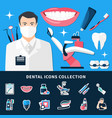 dental icons collection vector image vector image