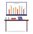 desktop with laptop folders white presentation vector image vector image