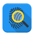 Fingerprint magnifying app icon with long shadow vector image