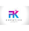 fk f k letter logo with shattered broken blue vector image vector image