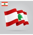 Flat and waving Lebanese Flag vector image vector image