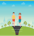 front view of man and woman jogging together vector image vector image