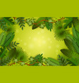 green tropical jungle frame with lush colorful vector image vector image