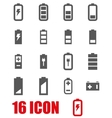 grey battery icon set vector image vector image