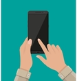 Hand touching screen of black smartphone vector image