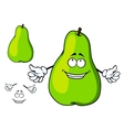Happy green cartoon pear giving a thumbs up vector image vector image