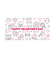 happy valentines day outline horizontal vector image vector image