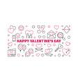 happy valentines day outline horizontal vector image