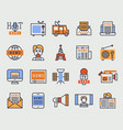 hot news tv website icons flat style vector image vector image