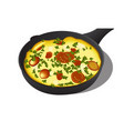italian frittata in an iron vector image