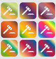 judge hammer icon Nine buttons with bright vector image vector image