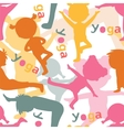 Kids doing yoga silhouettes pattern vector image