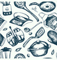 kitchen ware - hand drawn seamless pattern vector image vector image
