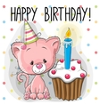 Kitten with cake vector image vector image
