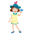 Little girl in yellow dress and blue hat vector image vector image