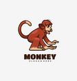 logo monkey simple mascot style vector image vector image