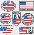 Made in USA label set with flag vector image