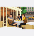 men playing music together vector image vector image