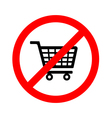 No shopping cart sign vector image vector image