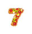 number 7 pizza font italian meal alphabet numeral vector image vector image