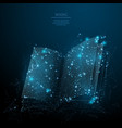 open book low poly blue vector image vector image