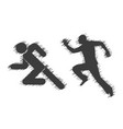 running man icons with shading on a white vector image
