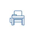 school desk line icon concept school desk flat vector image
